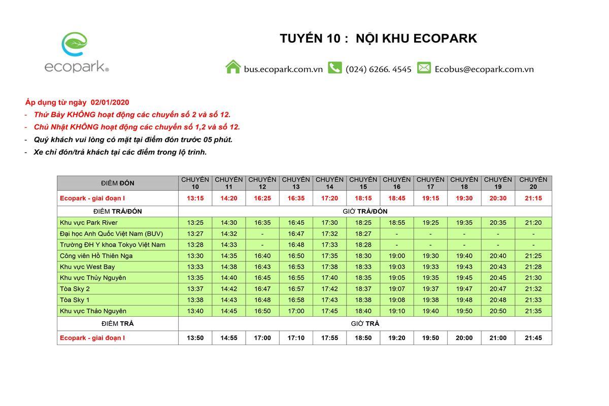 lịch trình xe bus nội khu ecopark